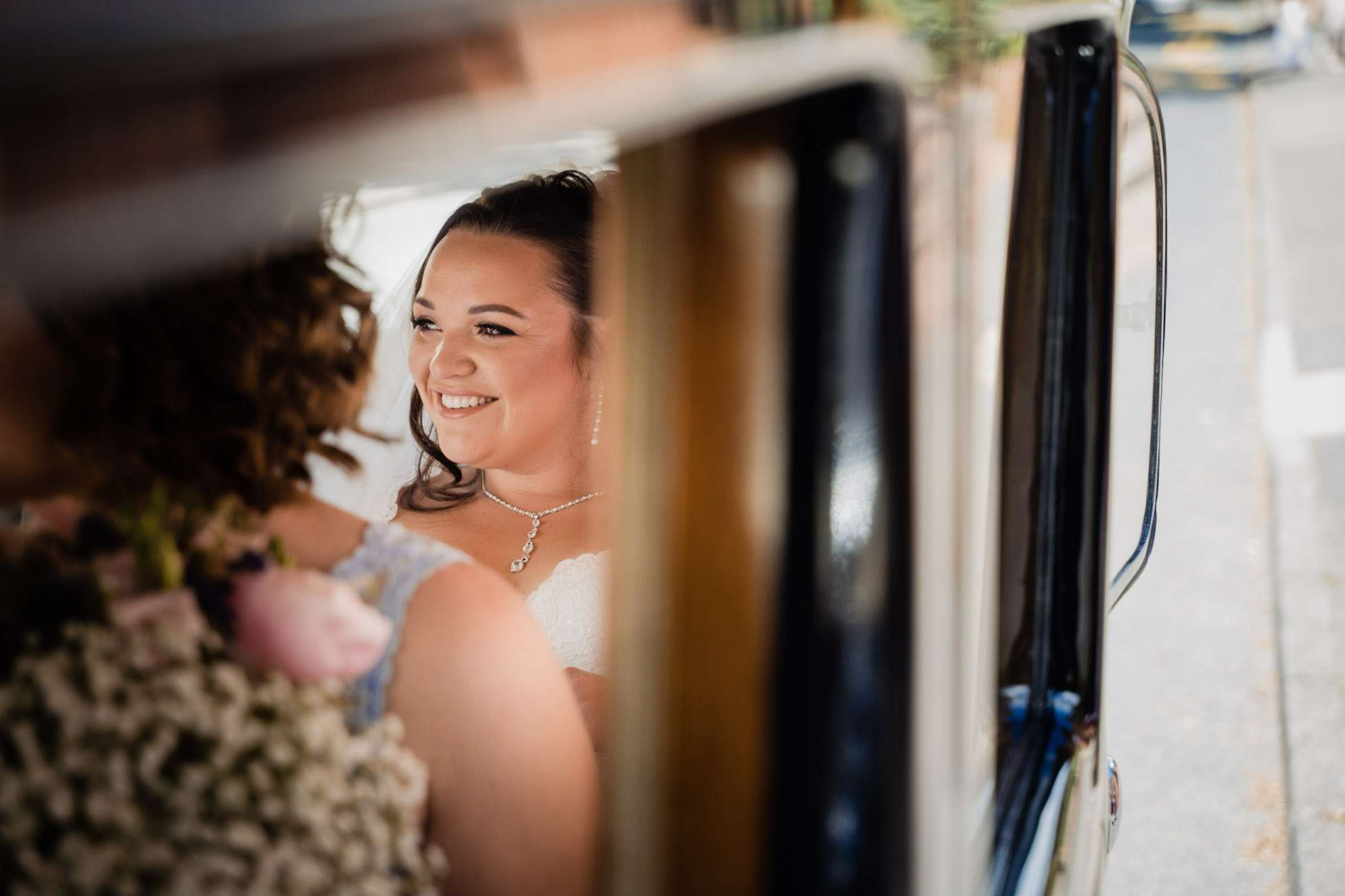 A bride arriving at a church in Hampshire as she is about to get married