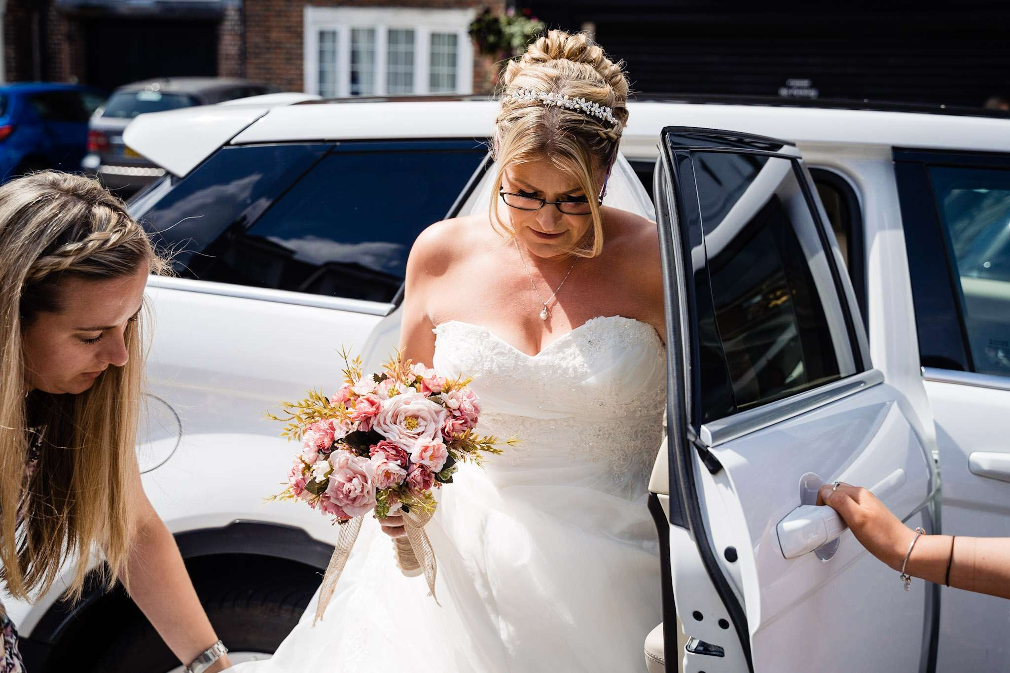 A bride arriving at Poole Guildhall as she is about to get married