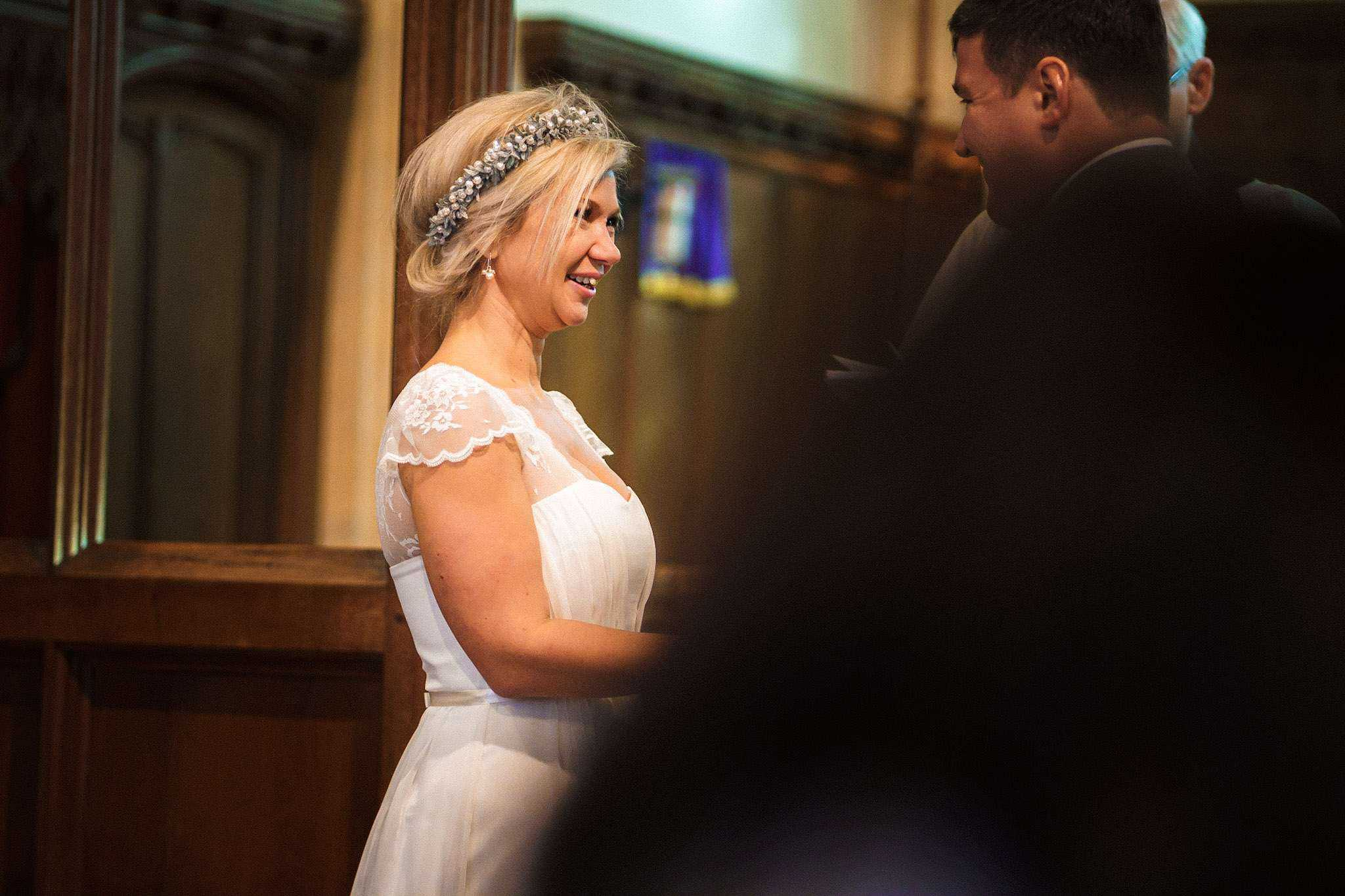 The bride during her vows
