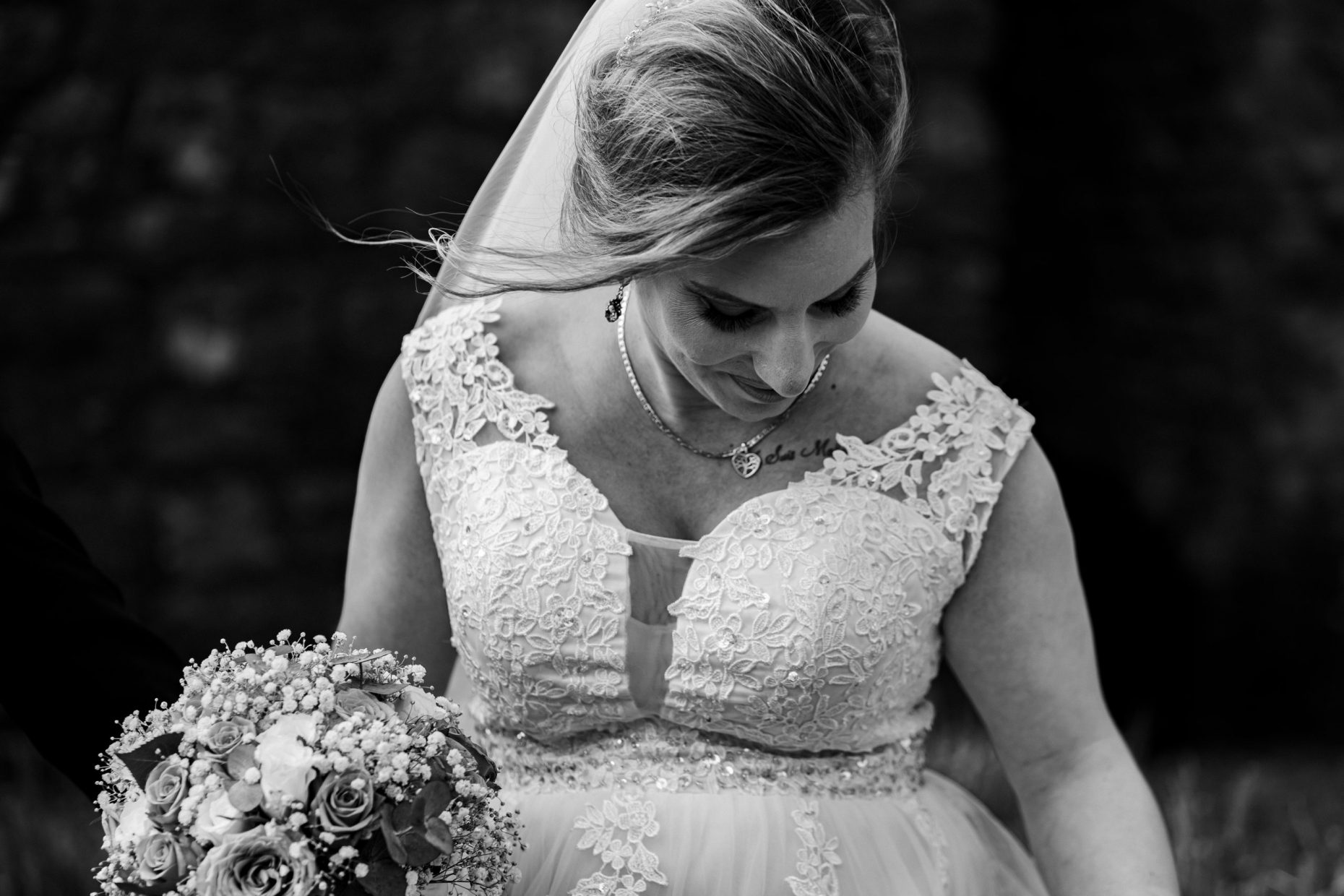 An artistic photo of a bride in a documentary style